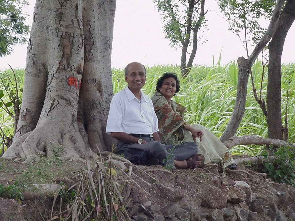 Usha & Vasant Lad under the Banyan Tree at their Farm in India